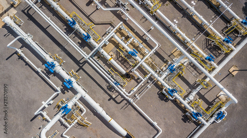 Fototapeta Aerial top view natural gas pipeline, gas industry, gas transport system, stop valves and appliances for gas pumping station. obraz