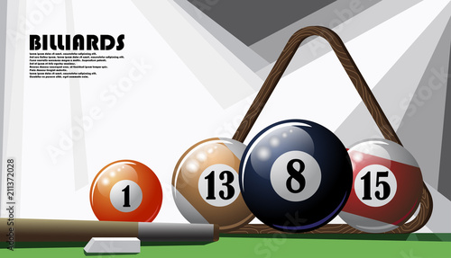 Fototapeta Color poster on the billiard theme