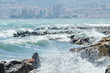 Amazing sea with blue summer wave and rocks, relaxing view of rocks and water