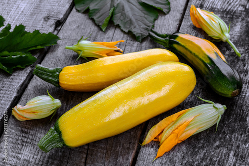 Fresh young yellow zucchini.