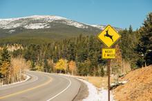 Deer Crossing Sign On Highway ...