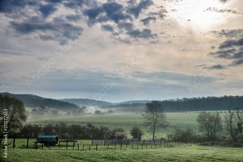 Fotografie, Obraz  Paysage de campagne en Moselle à la lueur du matin avec la brume matinale