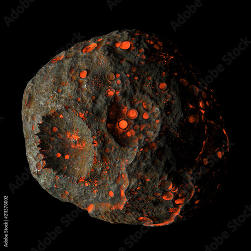 Photo Psyche - Hot asteroid, 3d rendering