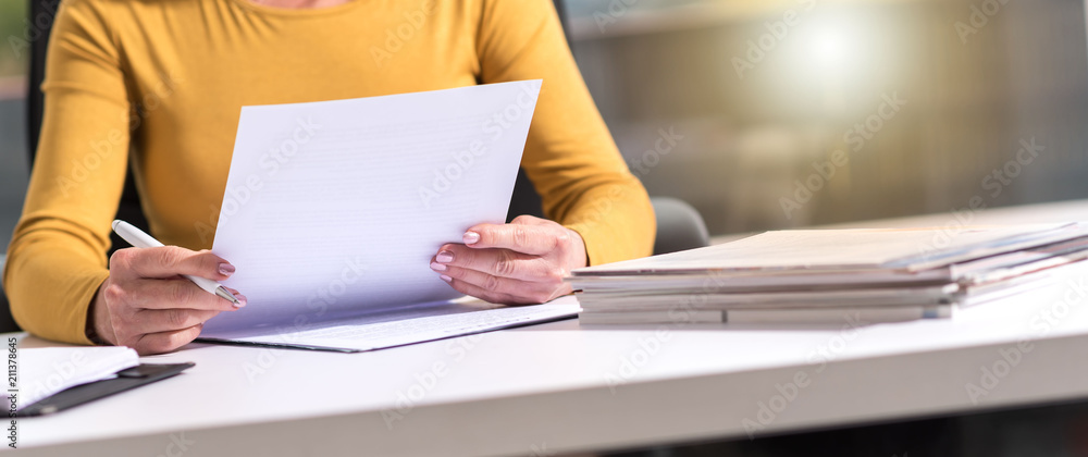 Businesswoman checking document