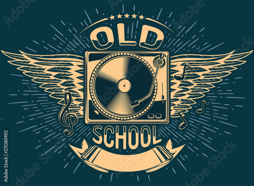 Old school music emblem - Buy this stock vector and explore