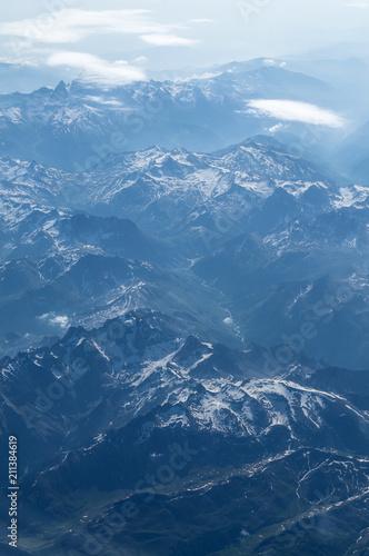 Foto op Plexiglas Alpen Bergepanorama der Alpen aus dem Flugzeug