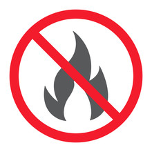 No Fire Glyph Icon, Prohibition And Forbidden, No Flame Sign Vector Graphics, A Solid Pattern On A White Background, Eps 10.