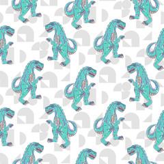 Tapeta Dino monster boy seamless vector pattern. Angry blue dinosaur background for print.