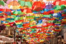 A Street Covered With Umbrellas