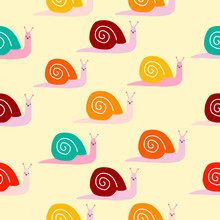 Seamless Cute Snails Pattern