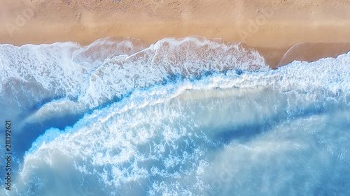 Keuken foto achterwand Luchtfoto Aerial view on the waves. Beautiful natural seascape from air