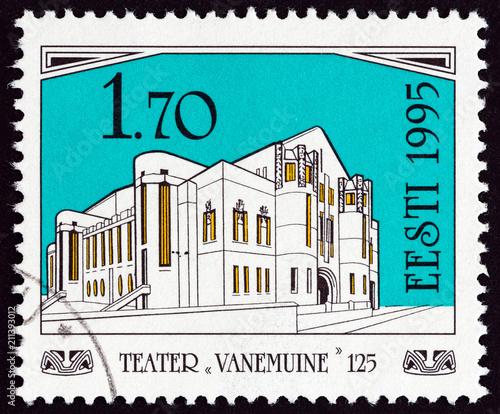 In de dag Theater Vanemuine Theatre old building in Tartu (Estonia 1995)