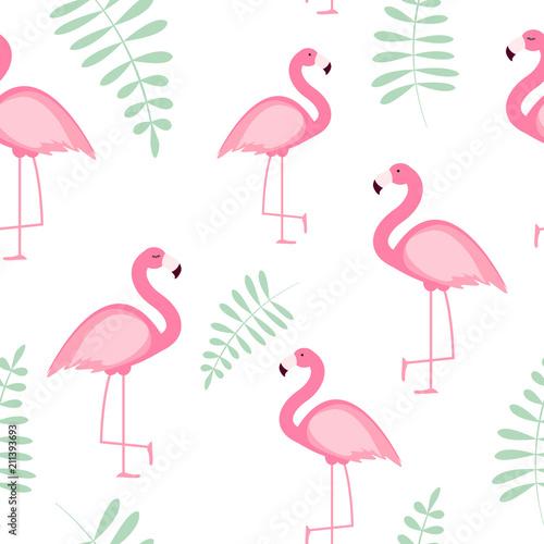Canvas Prints Flamingo Bird Cute Seamless Flamingo Pattern Vector Illustration