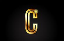 Gold Alphabet Letter C Logo Ic...