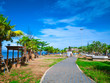 Beautiful Park Beside the Ocean in vacation time,Idyllic ocean and Blue sky,Summer concept