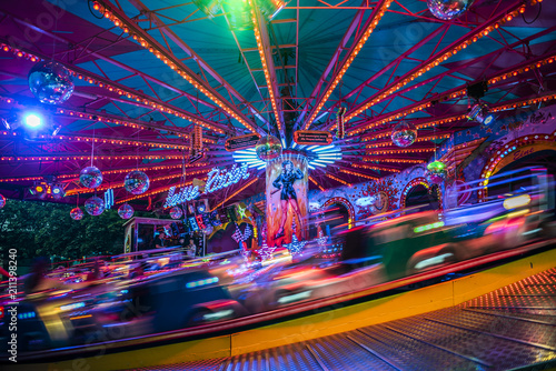 Foto op Plexiglas Amusementspark Amusement Park by Night