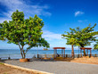 Beautiful Park near the Ocean in vacation time,Idyllic ocean and Blue sky,Summer concept