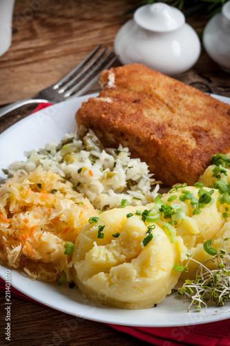 Foto op Canvas Buffet, Bar Fried fish fillet of cod.