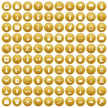 100 Flowers Icons Set In Gold Circle Isolated On White Vector Illustration