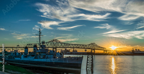 U.S.S Kidd and Mississippi River Bridge in Baton Rouge Wallpaper Mural