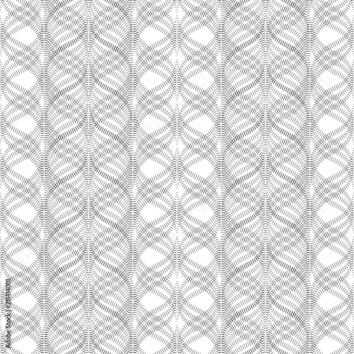 Fotografia  Wavy stripes, floral ornament, geometric seamless pattern, texture