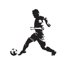 Soccer Player Running With Ball, Abstract Scratched Ink Vector Drawing. European Football Athlete. Isolated Silhouette, Side View