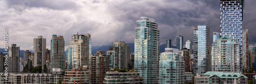 Panoramic view of Downtown City Buildings during a vibrant evening Wallpaper Mural