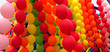 Colorful balloons background. Rainbow color balloons put together.
