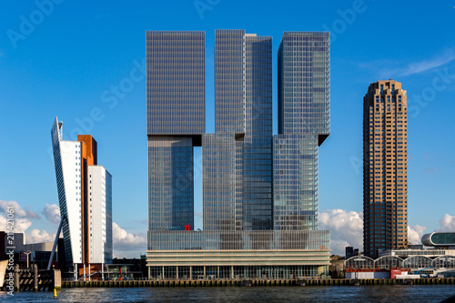 Cityscape of Rotterdam with modern buildings
