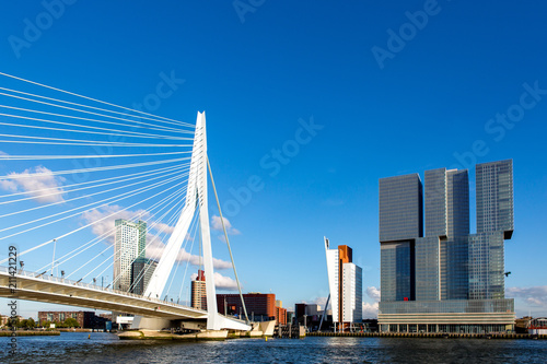Aluminium Prints Rotterdam Cityscape with bridge seen from the water