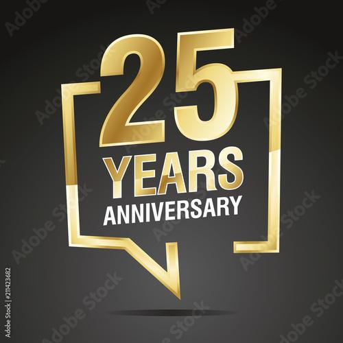 Fotografering  25 Years Anniversary gold white black logo icon