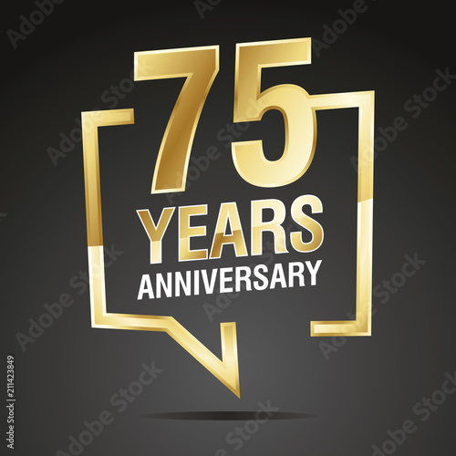 75 Years Anniversary gold white black logo icon Poster