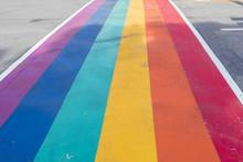 Rainbow Coloured Crosswalk For Pride Month On Church Street In Toronto