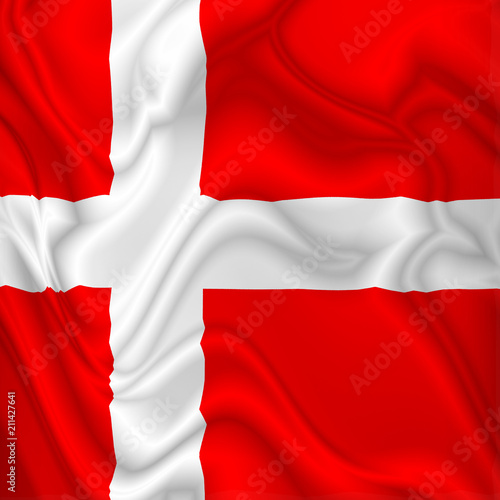 In de dag Draw Denmark Flag Waving Digital Silk Satin Fabric