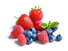 Raspberries, Strawberries And Blueberries On White Background