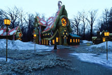 Christmas Gingerbread House In The Snow And Lights, 3d Render.