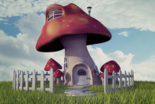 Red Cap Fairy Mushroom House On A Hill With A Beautiful Sky Background, 3d Render.