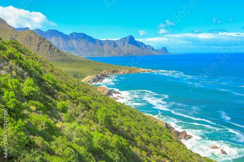 Deurstickers Zuid Afrika Scenic coastal R44 on eastern part of False Bay near Kogel Bay Beach between Gordon's Bay and Pringle Bay in Western Cape, South Africa. Beautiful mountain scenery along Route 44 in summer season.