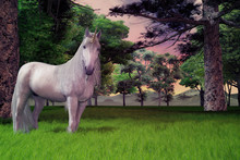 White Unicorn Standing In Long Grass With Trees And Beautiful Sky, 3d Render.