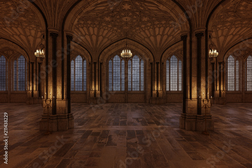 Fotografía  Palace ballroom with candles lighting the room and large arch windows, 3d render