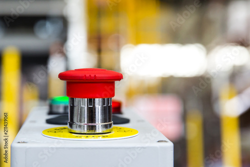Fotografía  Red Emergency Button in the Factory  Safety Push in Industrial manufacturing to
