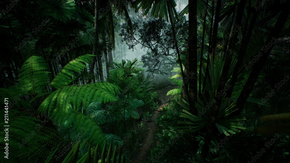 Fototapety, obrazy: Timelapse view over a beautiful lush green jungle. 3D rendering.