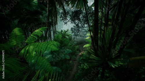 Timelapse view over a beautiful lush green jungle. 3D rendering.