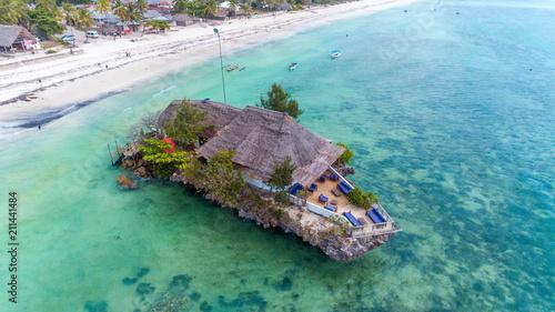 Printed kitchen splashbacks Zanzibar Rock Restaurant over the sea in Zanzibar, Tanzania, Africa.