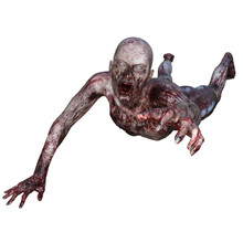 Zombie Covered In Blood Isolated On White, 3d Render.