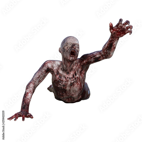 Zombie covered in blood isolated on white, 3d render. Canvas Print