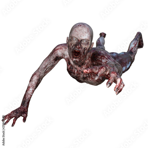 Canvas Print Zombie covered in blood isolated on white, 3d render.