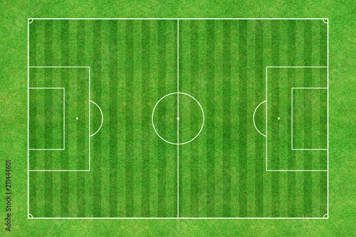 Green soccer stadium field top view Canvas Print
