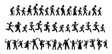 Many People Walking, Running, And Dancing Together. Stick Figures Pictogram Depicts A Lot Of People From Young To Old Marching, Marathon, And Partying. Crowd Celebrate By Jumping Up And Down.