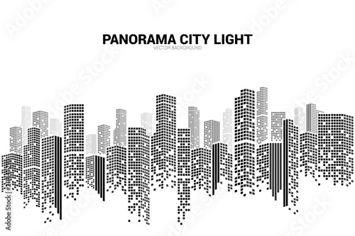 Panorama city Building background with windows pixel shape